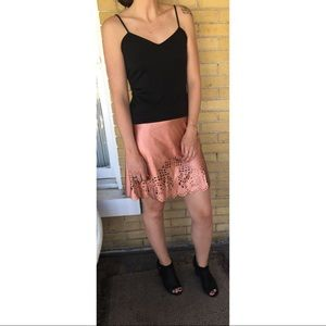 Ark & Co. Vegan Leather Laser Cut Skirt NWT